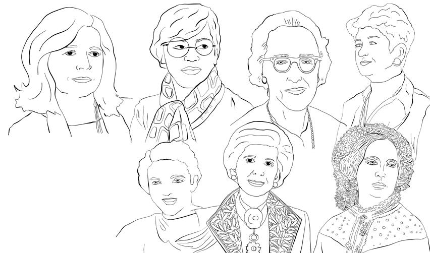 Portraits dessinés de femmes importantes dans l'histoire de Sciences Po